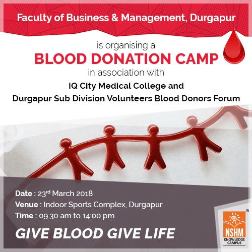 faculty of business management durgapur conducted a blood donation camp in association with iq city medical college and durgapur sub division volunteers